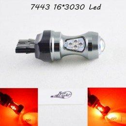 Светодиодная автомобильная лампа SLP LED с цоколем T20(7443)(W21W/5W) 16-3030 80W 9-30V Красный