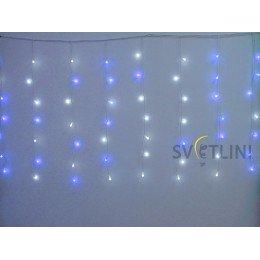 Гирлянда Штора (Curtain) 2, 5м х 0, 9м, БЕЛЫЙ КАБЕЛЬ ПВХ 84 светодиода Синего/Белого цвета свечения