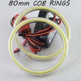 Led кольца в фару (ангельские глазки) 80-64мм COB суперяркие, с рассеивателями