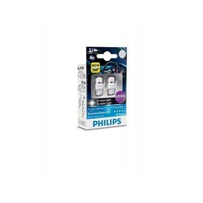 Лампа светодиодная Philips W5W X-Treme Vision LED, 2шт/блистер