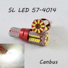 Лед лампа в габарит SL LED, с обманкой Can шины, цоколь W5W(T10) 57 светодиодов типа 4014 9-30 В. Белый