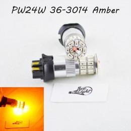 Led лампа в габарит, ДХО SLP LED, цоколь PW24W 36-3014 led, 9-30 В. Янтарный