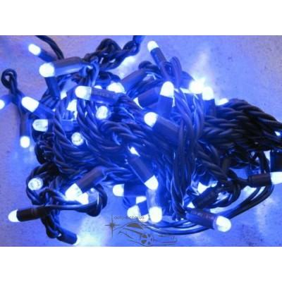 """Гирлянда уличная """"Нить"""" (String) 100LED 10м, чёрный/белый провод (каучук), светодиодная белая, синяя"""