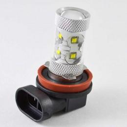 Автомобильная светодиодная лампа с цоколем H11 в противотуманные фонари Cree 50W  Линза Белый