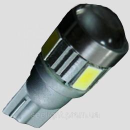 Светодиодная лампа с обманкой бортового компьютера T10(W5W) 5630+ 3W Cree 9-30V- с линзой