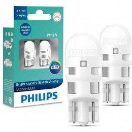 Лампа светодиодная Philips T10 6000K 12V, 2шт/блистер