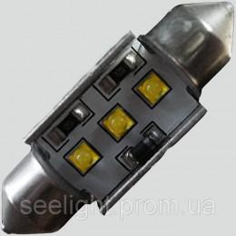 Светодиодная лампа с встроеной обманкой бортового компьютера SV8,5(C5W)-36mm-9W-Cree LED